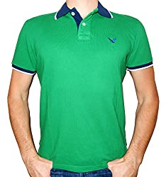 American Eagle Outfitters Men's Classic Fit Mesh Tipped Polo T-shirt (X-Small, Royal Blue/Coral/White)