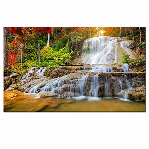sechars - Peaceful Waterfall Giclee Canvas Prints Paintings on Canvas Kanchanaburi Thailand Fall Forest Landscape Wall Art Framed for Office Living Room Decorations