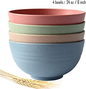 Greenandlife Lightweight & Unbreakable Wheat Straw Bowl - Noodle Fruit Soup Bowl Rice Bowls Dishwasher Microwave Safe set 4pcs