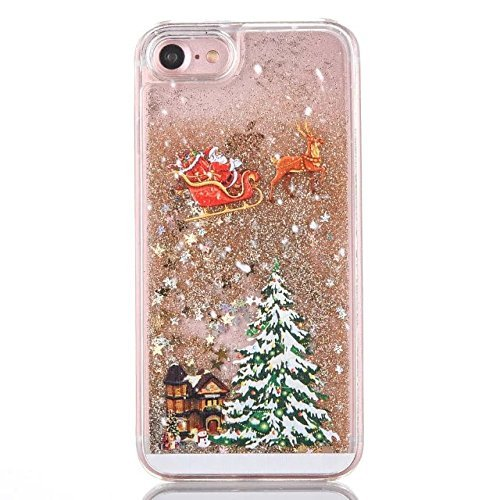 Christmas Phone Case.For Iphone 5 5s Se Pc Case Christmas Series Pattern Glitter Liquid Floating Moving Clear Pc Case Hard With Christmas Tree Santa Claus For Christmas