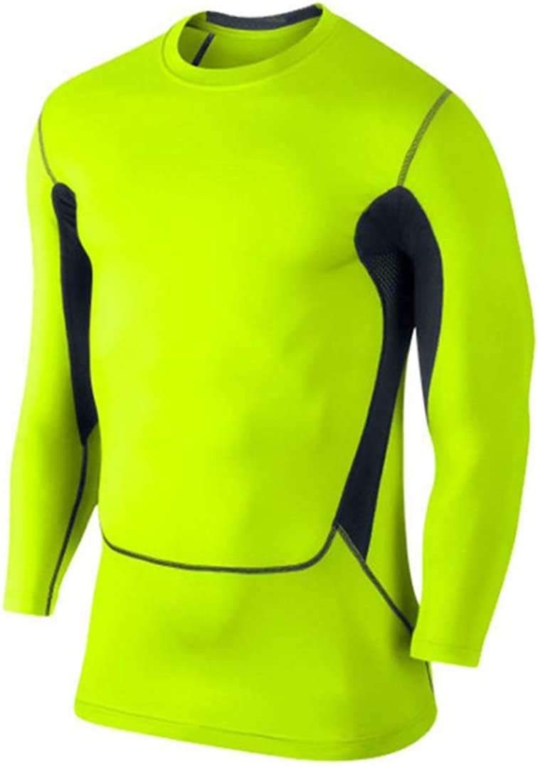 Mens Compression Tops Cool Dry Baselayer Tight Skin Fit Long Sleeve Compression Shirt