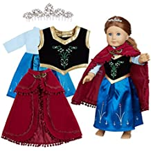 Doll Clothes (Princess Frozen Evening Gown Complete set including Printed Dress,Emborderied Vest,Shawl,Crown fits for18 Inch American Girl Dolls)Packaged in a gift box!