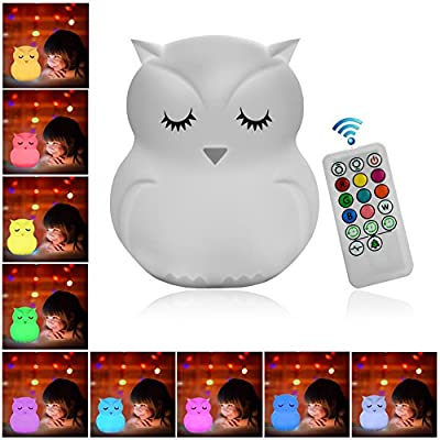 Night Light for Kids, Remote Control and Tap Control Night Light with Soft Silicone Cute Owl Rechargeable 9-Color Dimmable Night Light for Nursery, Sleep, Home Décor