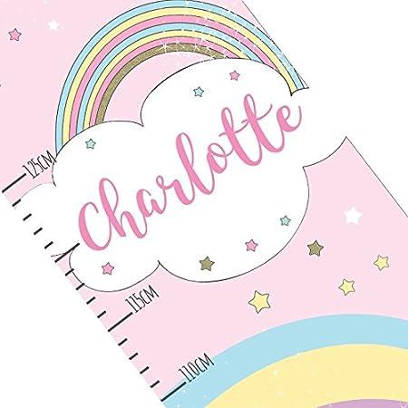 Kiddiewinkle Gifts Personalised Girls Height Chart Unicorn Pink