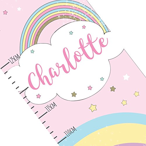 Kiddiewinkle Gifts Personalised Girls Height Chart - Unicorn Pink Growth Chart for Girls, Childrens Height Chart, Girls Bedroom Accessories, Princess Gifts