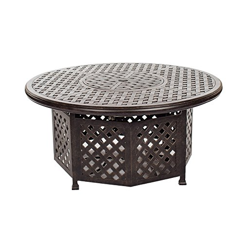 iPatio Sparta 52 Inch Chat Height Gas Firepit Table with Doors for Outdoor Use