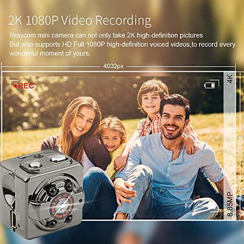 Rraycom Mini Hidden Spy Camera,Full HD 1080P Portable Wireless Small HD Cameras with Night Vision,Motion Detection and Loop Recording,Pefect Sports Action Cam and Indoor Covert Security Camera