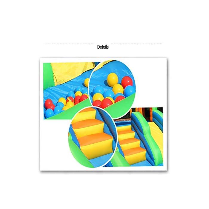 51fUBpktmsL El castillo es perfecto para la imaginación y el juego de los niños. Si no se utiliza durante mucho tiempo, por favor embalado y, al mismo tiempo, prestar atención a los insectos de control de roedores, el tamaño es muy mecedora proporciona suficiente espacio interior libre de rebote, y con unos parámetros de seguridad al aire libre rápido y cómodo de tocones suelo. La parte inferior castillo hinchable tiene un diseño antideslizante de espesor, una mayor capacidad de salto, que está rodeado por una valla protectora gruesa, es segura, los niños juegan en la fortaleza, no se preocupe, su hijo será herido.
