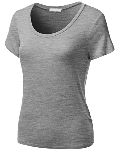 H2H Women Ladies Roundneck Cap Sleeves Top H.Gray US M/Asia M (Gray Womens Cap Sleeve T-shirts)