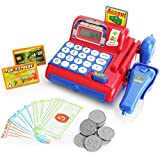 Boley Cash Register with Scanner - Red and Blue Cash Register Toy for Kids with Real Calculator, Play Money and Pretend Cashier Intercom