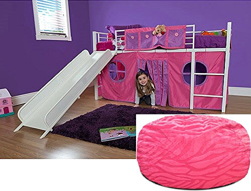 Girls Pink Twin Loft Bed with Slide and Bean Bag Bedroom Set - She will love this unique bundle Guaranteed. This childs high metal frame furniture has guardrails, ladder and storage or curtain playhouse underneath; also includes kids beanbag chair. (Loft Curtain Set)