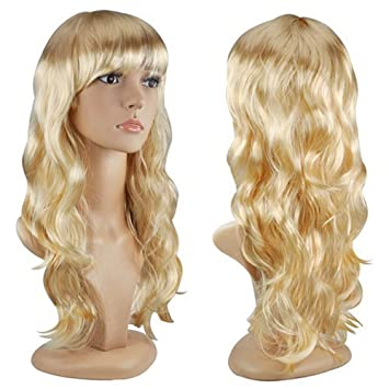 Accessotech Women s Sexy Long Curly Fancy Dress Wigs Cosplay Costume Ladies  Full Wig Party Blonde  Amazon.co.uk  Beauty c47c5a669f