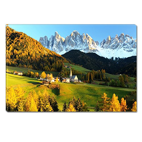 Startonight Canvas Wall Art House In Mountain, Dual View Surprise Artwork Modern Framed Ready to Hang Wall Art 100% Original Art Painting 23.62 X 35.43 inch by Startonight