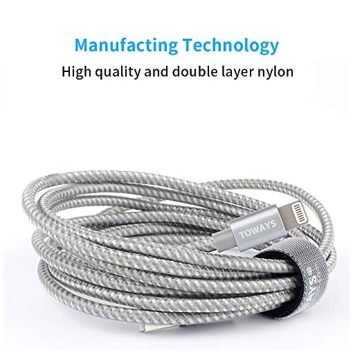 TOWAYS Lightning iPhone Charger Cable (Apple MFi Certified) 6.5ft / 2M Double Nylon Braided Fast Charging USB Cable for iPhone XS/XS Max/XR/iPhone X / 8/7 /6/5 / iPad/iPod and More – Gray