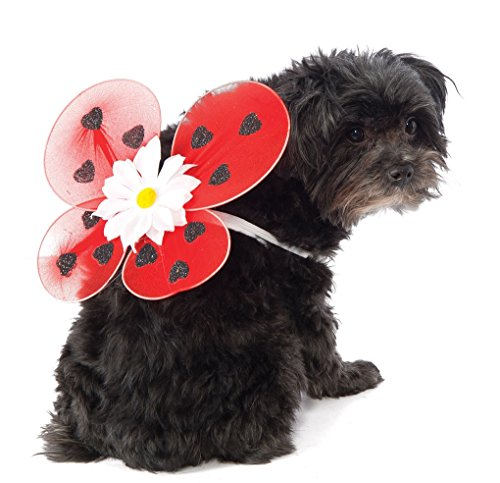 [Dog Cat Pet Lady Bug Wings - Red With Black Hearts and a Daisey - Medium/Large] (Pet Ladybug Costume)