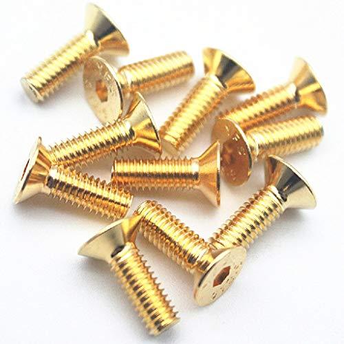 50PCS M3 Flat Screws 12.9 Flat Head Hexagon Bolts Hex Socket Head Cap Screws Allen Screw Gold (12mm)