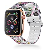 WISHTA Compatible with Apple Watch Band 40mm 44mm, Women iWatch Bands Soft Silicone Floral Pattern Replacement Wristband Compatible with Apple Watch Series 4, Nike+ and Edition (Flower-3, 44mm)