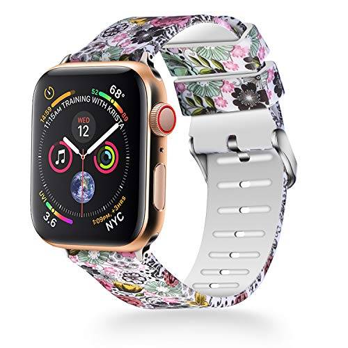 WISHTA Compatible with Apple Watch Band 40mm 44mm, Women iWatch Bands Soft Silicone Floral Pattern Replacement Wristband Compatible with Apple Watch Series 4, Nike+ and Edition (Flower-3, 44mm) by WISHTA