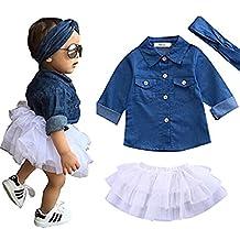 Baby Girl Denim Tops Shirt + Tutu Skirts + Headband 3pcs Outfits Clothes Set