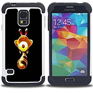 GIFT CHOICE / Defensor Cubierta de protección completa Flexible TPU Silicona + Duro PC Estuche protector Cáscara Funda Caso / Combo Case for Samsung Galaxy S5 V SM-G900 // Cute Glowing Yellow Thingy //