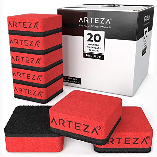 ARTEZA 20 Small Magnetic Whiteboard Dry Erasers, Perfect for the Office, Home, or Classroom -