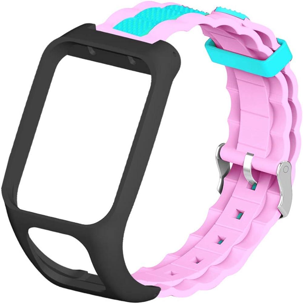 Baluue Compatible con La Correa de Reloj Tomtom Runner3 Y Tomtom Adventurer - Correa de Pulsera de Repuesto de Silicona Pulsera con Protector de Caja de Reloj - Accesorios de Reloj Inteligente GPS