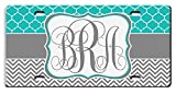 Personalized License Plate For Front Of Car - Custom Monogrammed Teal Lattice Grey Chevron Car Tag - Design License Plate Cover For Auto Car Bike Bicycle Motorcycle Moped Key Chain Tag