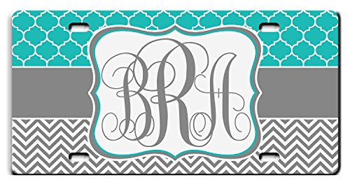 Personalized License Plate For Front Of Car - Custom Monogrammed Teal Lattice Grey Chevron Car Tag - Design License Plate Cover For Auto Car Bike Bicycle Motorcycle Moped Key Chain Tag by BlackForestQ