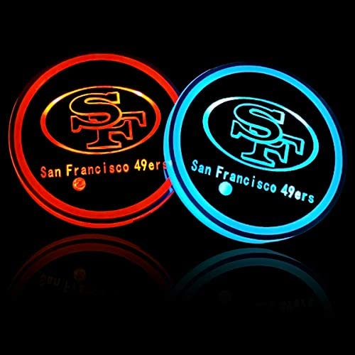 Wall Stickz Auto Parts 2PCS NFL American Football Team LED Cup Holder Mat Pad with USB Rechargeable Car Coaster Chicago Bears