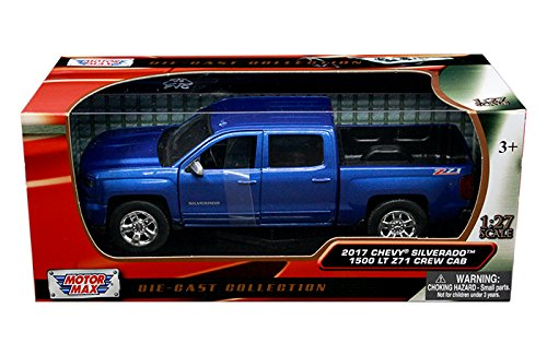 Motormax 2017 Chevrolet Silverado 1500 LT Z71 Crew Cab Pickup Truck 1/27 Scale Diecast Model Vehicle Blue