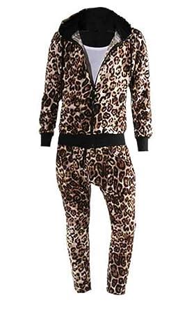 a9f64f9ab3 UUYUK Men Leopard Print Zip Up Hoodie Jacket Sweatpants Jogger Tracksuit  Golden US L