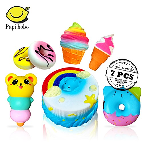 Slow Rising Jumbo SQUISHIES SET PACK of 7 - Rainbow Triangle Cake, Donuts & Ice Cream, Kawaii Squishy Toys or Stress Relief Toys PLUS BONUS Stickers Come With the Squishys for Gift (Donut Triangle)