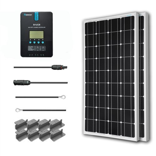 Renogy 200 Watt 12 Volt Monocrystalline Solar Starter Kit with 20A Rover MPPT Charge Controller