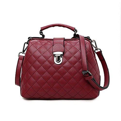 Buckle Color Messenger Red Leisure Doctor Waterproof Shoulder FangYOU1314 Red Lock Handbag X8Hwtzzx
