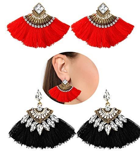 3e89867c669aa4 Hanpabum 2 Pairs Tassel Dangle Stud Earrings Women Bohemian Statement  Thread Fringe Earrings Set (A
