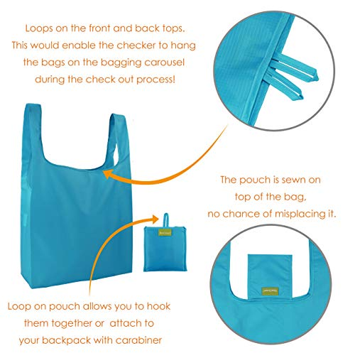 Reusable Grocery Bags Set of 5, Grocery Tote Foldable into Attached Pouch, Ripstop Polyester Reusable Shopping Bags, Washable, Durable and Lightweight (Royal,Purple,Pink,Orange,Teal) by BeeGreen (Image #6)