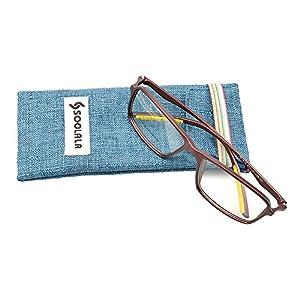 SOOLALA Unisex Designer Square TR90 Full Frame Magnifying Reading Glasses, Maroon, +2.25D