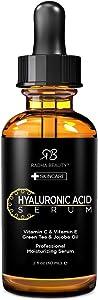 Radha Beauty - Suero de ácido hialurónico para la cara, 60mL con vitamina C + E + té verde y aceite de jojoba para antienvejecimiento, arrugas y líneas finas: para una piel radiante y saludable