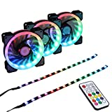 LEDdess RGB LED 120mm Case Fan with Controller for PC Cases, CPU Coolers, Radiators System (3pcs RGB Fans, 2pcs led Strips, 2nd Gen RF Remote Control, A Series)