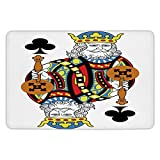 Bathroom Bath Rug Kitchen Floor Mat Carpet,King,King of Clubs Playing Gambling Poker Card Game Leisure Theme without Frame Artwork,Multicolor,Flannel Microfiber Non-slip Soft Absorbent