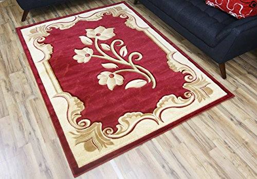 BEYAN Rosa Collection Hand Carved Transitional Style Floral Pattern Living Room Area Rug, 6'7