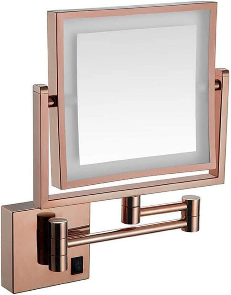 CUUYQ 化粧鏡LEDライト、両面 3倍拡大 けメイクミラー 360 °回転 壁掛け式 伸縮可能折り 化粧ミラー 8インチPowered by Plug,Rose gold