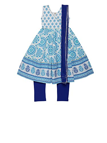 Designer Salwar Kurta - K&U Girls' Printed Cotton Silk & Net Indian Salwar Kurta Dupatta