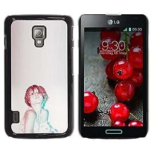 Paccase / SLIM PC / Aliminium Casa Carcasa Funda Case Cover - Ginger Woman Vignette Retro - LG Optimus L7 II P710 / L7X P714