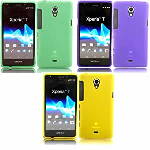 3 Pack Gel Cubrir Caso Piel Para Sony Xperia T / Green And Purple And Yellow