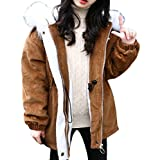 Doufine Girls Thickened Coat Hood Snowsuit Mid-Length Cotton Padded Camel 150cm