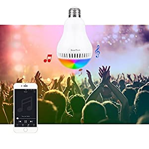 Bluetooth Light Bulb Speaker, E26 Base, BooTaa Smartphone Controlled Sunrise Wake Up Lights- Dimmable Multicolored Color Changing Party Lights Bulb -8W (White 5W+RGB 3W) (50Watts Equivalent)