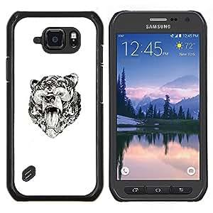 TECHCASE---Cubierta de la caja de protección para la piel dura ** Samsung Galaxy S6 Active G890A ** --rugido del oso patrón tribal tinta arte blanco