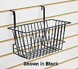 Black Narrow Universal Basket for Pegboard, Slat/Grid wall 12''W x 6''D x 6''H