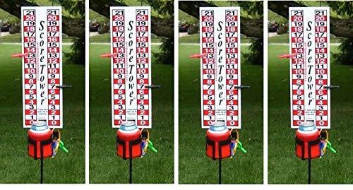 ScoreTower - Scoreboard & Drinkholder for Bocce Ball (Fоur Расk)